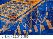 Купить «Бизнес-коллаж с графиками и стрелками на фоне денег», иллюстрация № 23315385 (c) Сергеев Валерий / Фотобанк Лори