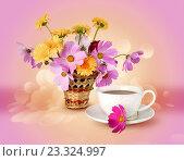 Летние цветы и чашка с напитком на ярком теплом фоне. Стоковое фото, фотограф Лариса К / Фотобанк Лори