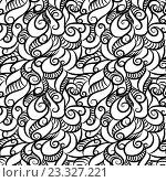 Купить «Бесшовный фон с черно-белым узором», иллюстрация № 23327221 (c) Шильникова Дарья / Фотобанк Лори