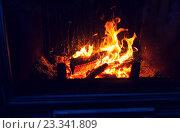 Купить «close up of burning fireplace at home», фото № 23341809, снято 16 октября 2015 г. (c) Syda Productions / Фотобанк Лори