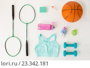 Купить «close up of badminton rackets with sports stuff», фото № 23342181, снято 17 июня 2016 г. (c) Syda Productions / Фотобанк Лори