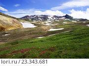 Вулканический ландшафт с вулканом Мутновский. Стоковое фото, фотограф Валерий Трубицын / Фотобанк Лори