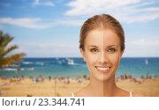 Купить «close up of beautiful woman with half face tanned», фото № 23344741, снято 16 сентября 2012 г. (c) Syda Productions / Фотобанк Лори