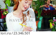 Купить «Female florist taking an order on telephone», видеоролик № 23346501, снято 6 августа 2020 г. (c) Wavebreak Media / Фотобанк Лори