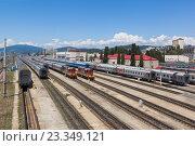 Купить «Железнодорожный транспортный узел Адлер», фото № 23349121, снято 7 июля 2016 г. (c) Николай Мухорин / Фотобанк Лори