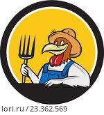 Купить «Фермер-петух с вилами в круглой рамке», иллюстрация № 23362569 (c) Aloysius Patrimonio / Фотобанк Лори