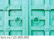 Купить «Старые зелёные ворота с кольцами», фото № 23365005, снято 23 июня 2016 г. (c) Зезелина Марина / Фотобанк Лори