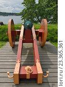 Купить «Крепость Акерсхус в Осло, Норвегия. Старинная пушка на деревянном лафете», фото № 23365361, снято 12 июля 2016 г. (c) Валерия Попова / Фотобанк Лори