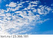Купить «Голубое небо с плывущими облаками», фото № 23366181, снято 7 мая 2016 г. (c) Валерий Апальков / Фотобанк Лори