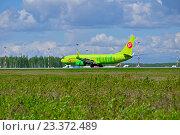 Купить «Самолет Airlines Boeing 737 компании S7 в аэропорту Пулково. Санкт-Петербург», фото № 23372489, снято 11 мая 2016 г. (c) Зезелина Марина / Фотобанк Лори