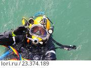 Погружение в воду, мужчина в водолазном костюме показывает знак ОК. Стоковое фото, фотограф Алина Чебыкина / Фотобанк Лори