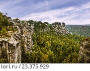 Купить «Саксонская Щвейцария, Германия, Национальный парк», фото № 23375929, снято 5 августа 2015 г. (c) Наталья Волкова / Фотобанк Лори