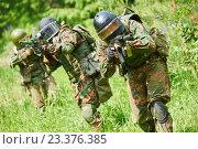 Купить «Military soldier with pistol», фото № 23376385, снято 14 июня 2015 г. (c) Дмитрий Калиновский / Фотобанк Лори