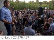 Купить «Оппозиционный лидер Алексей Навальный выступает перед участниками митинга против пакета законов депутата Ирины Яровой в гайд-парке Сокольники города Москвы, Россия 2016 год», фото № 23376437, снято 9 августа 2016 г. (c) Николай Винокуров / Фотобанк Лори