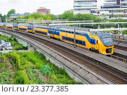 Купить «Rotterdam, Netherlands. Yellow and blue colored Dutch Intercity train entering a down town track tunnel after departing from Rotterdam Grand Central Station.», фото № 23377385, снято 29 июня 2016 г. (c) age Fotostock / Фотобанк Лори