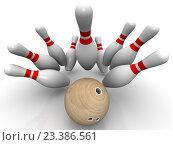 Купить «Страйк. Шар для боулинга выбивает все кегли», иллюстрация № 23386561 (c) WalDeMarus / Фотобанк Лори