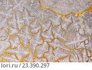 Купить «Кристаллический узор с золотыми прожилками», фото № 23390297, снято 6 февраля 2016 г. (c) Евгений Дробжев / Фотобанк Лори