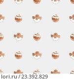 Рождественское печенье в виде шариков и ангелочков, иллюстрация, бесшовный фон. Стоковая иллюстрация, иллюстратор Алина Чебыкина / Фотобанк Лори