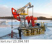 Купить «Нефтяной насос в поле», фото № 23394181, снято 30 декабря 2007 г. (c) Георгий Shpade / Фотобанк Лори