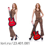 Купить «Young woman playing guitar isolated on white», фото № 23401081, снято 12 июля 2020 г. (c) Elnur / Фотобанк Лори
