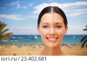 Купить «close up of beautiful woman with half face tanned», фото № 23402681, снято 6 ноября 2013 г. (c) Syda Productions / Фотобанк Лори