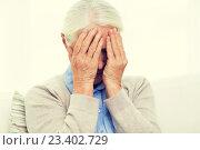 Купить «senior woman suffering from headache or grief», фото № 23402729, снято 10 июля 2015 г. (c) Syda Productions / Фотобанк Лори
