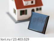 Купить «close up of house model and solar battery or cell», фото № 23403029, снято 3 июня 2016 г. (c) Syda Productions / Фотобанк Лори