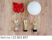 Купить «close up of volleyball ball, cups and medals», фото № 23403897, снято 17 июня 2016 г. (c) Syda Productions / Фотобанк Лори