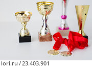 Купить «close up of sports golden cups and medals», фото № 23403901, снято 17 июня 2016 г. (c) Syda Productions / Фотобанк Лори