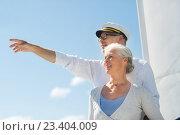 happy senior couple on sail boat or yacht in sea. Стоковое фото, фотограф Syda Productions / Фотобанк Лори