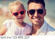 Купить «happy family in sunglasses on summer beach», фото № 23405221, снято 11 августа 2015 г. (c) Syda Productions / Фотобанк Лори