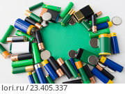 Купить «close up of green alkaline batteries», фото № 23405337, снято 3 июня 2016 г. (c) Syda Productions / Фотобанк Лори
