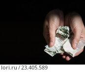 Купить «close up of addict hands with drugs and money», фото № 23405589, снято 9 июня 2016 г. (c) Syda Productions / Фотобанк Лори