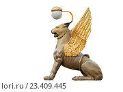 Купить «Крылатый лев на Банковском мосту в Санкт-Петербурге, белый фон», фото № 23409445, снято 5 августа 2016 г. (c) Anna P. / Фотобанк Лори