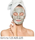 Купить «Женщина с маской для лица», фото № 23420225, снято 11 августа 2016 г. (c) Насыров Руслан / Фотобанк Лори