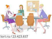 Женщины в офисе. Стоковая иллюстрация, иллюстратор Мария Румянцева / Фотобанк Лори