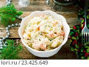 Купить «Салат оливье», фото № 23425649, снято 2 августа 2016 г. (c) Зоряна Ивченко / Фотобанк Лори