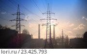 Купить «Дымящие трубы и линии электропередач», видеоролик № 23425793, снято 24 августа 2009 г. (c) Куликов Константин / Фотобанк Лори