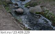 Купить «Ручей течет в ложбине среди камней», видеоролик № 23439229, снято 22 августа 2016 г. (c) Сергей Громыко / Фотобанк Лори