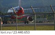 Купить «Airplane was taxiing on the runway before take-off», видеоролик № 23440653, снято 26 ноября 2015 г. (c) Игорь Жоров / Фотобанк Лори