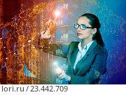 Купить «Woman pressing buttons in business concept», фото № 23442709, снято 25 июля 2016 г. (c) Elnur / Фотобанк Лори