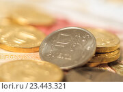 Купить «Рублевая монета», фото № 23443321, снято 29 августа 2016 г. (c) Алексей Букреев / Фотобанк Лори