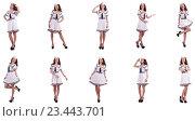 Купить «Collage of woman sailor isolated on white», фото № 23443701, снято 16 декабря 2018 г. (c) Elnur / Фотобанк Лори