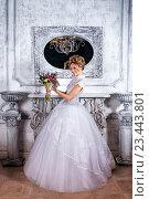 Невеста стоит рядом с камином в роскошном свадебном платье. Стоковое фото, фотограф Черепанова Татьяна / Фотобанк Лори