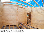Construction of a new wooden house. Inside view, фото № 23443885, снято 3 августа 2016 г. (c) FotograFF / Фотобанк Лори