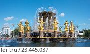 Купить «Фонтан «Дружба народов» на ВДНХ, Москва», эксклюзивное фото № 23445037, снято 27 августа 2016 г. (c) Давид Мзареулян / Фотобанк Лори