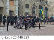 Купить «Королевские гвардейцы и старинное артиллерийское орудие. Развод караула у королевского дворца. Стокгольм, Швеция», фото № 23448329, снято 29 августа 2016 г. (c) Виктор Карасев / Фотобанк Лори
