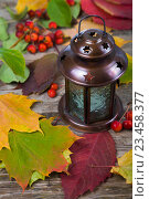 Купить «Lantern and fall leaves on an old wooden table», фото № 23458377, снято 3 октября 2015 г. (c) Елена Блохина / Фотобанк Лори