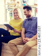 Купить «happy creative team with tablet pc in office», фото № 23461037, снято 29 марта 2015 г. (c) Syda Productions / Фотобанк Лори