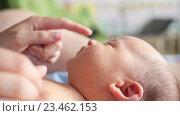 Мама играет с грудным ребёнком, лежащим в кроватке, касается его носа. Стоковое видео, видеограф Павел Котельников / Фотобанк Лори